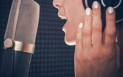 Song Recording by Singer royalty free stock image