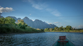 Song river. Beautiful view around 2 side`s Song river in Vang-Vieng, Laos Stock Photo