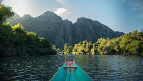 Song river. Beautiful view between 2 sides of Song river in Vang-Vieng, Laos Stock Image