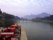 Song River in Vang Vieng. Lao P.D.R Stock Photo