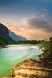 Song river. At Vang Vieng, Laos Royalty Free Stock Images