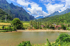 Song river at Vang Vieng, Laos Stock Photo
