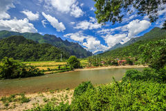 Song river at Vang Vieng, Laos Royalty Free Stock Photos