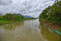 Song river at Vang Vieng Laos Royalty Free Stock Photos