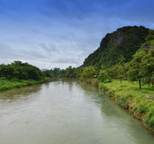 Song river at Vang Vieng Laos Royalty Free Stock Photo
