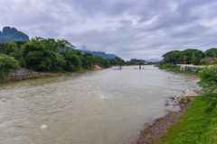 Song river Vang Vieng Laos Royalty Free Stock Photos