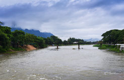 Song river Vang Vieng. Is a tourist-oriented town in Laos stock image