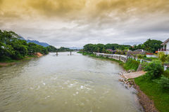 Song river Vang Vieng. Is a tourist-oriented town in Laos royalty free stock photography
