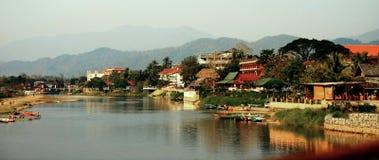 Song's river. Mountain nature village Laos stock photos