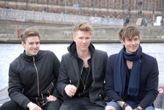 SONG SOLDIERS OF LOVE_LIGHTHOUSE X. COPENHAGEN / DENMARK_ 21 April 2016 _ Lighthouse X danosh pop group singers Soren Bewgendal (blue blazer)Johannes Nymark ( Royalty Free Stock Photos