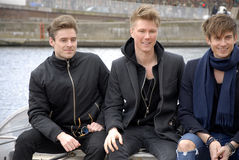 SONG SOLDIERS OF LOVE_LIGHTHOUSE X. COPENHAGEN / DENMARK_ 21 April 2016 _ Lighthouse X danosh pop group singers Soren Bewgendal (blue blazer)Johannes Nymark ( Stock Photo