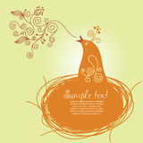 Songbird. Floral background, border with place for your text Stock Images