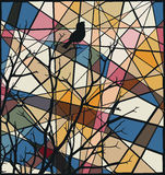 Songbird mosaic. Editable vector colorful mosaic illustration of a bird singing at the top of a bare tree Stock Photos