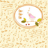 Songbird on musical doodles background. Hand drawn songbird on musical doodles background Royalty Free Stock Photos
