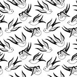 Songbird Seamless Pattern Black and White Stock Photo