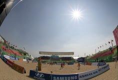 Songdo全球性大学沙滩排球 免版税库存照片