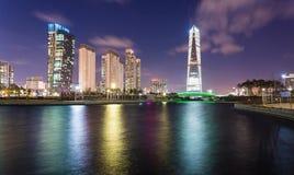 Songdo,韩国- 2015年3月09日:在歌曲的Songdo中央公园 免版税库存照片