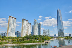 Songdo,韩国- 2015年9月07日:Songdo IBD 免版税图库摄影