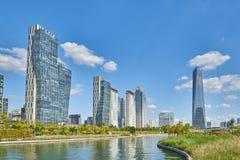 Songdo,韩国- 2015年9月07日:Songdo IBD 免版税库存图片