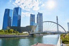 Songdo,韩国- 2015年9月07日:Songdo IBD 免版税库存照片