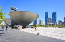Songdo, Южная Корея - 5-ое мая 2015: здание Три-шара на централи Стоковые Изображения