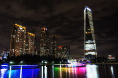 Songdo Canal night reflection. S taken right before the summer storm. Hotels apartments and office buildings reflecting on the small canal. Songdo, Incheon Royalty Free Stock Photos