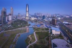 Songdo Central Park в районе Songdo, Южной Корее Инчхона Стоковое Изображение