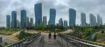Songdo Central Park. Breathtaking view from Songdo Central Park to Office centres in Incheon royalty free stock photos