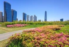 Songdo Central Park i det Songdo området Royaltyfria Bilder
