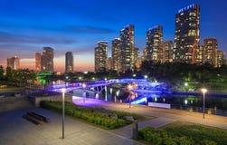 Songdo Central Park i Songdo internationellt affärsområde Royaltyfria Bilder