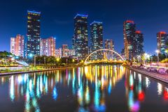 INCHEON, KOREA Songdo Central Park in Incheon, South Korea. Songdo Central Park at night in Incheon, South Korea royalty free stock image