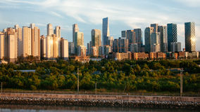 Songdo IBC during sunset. (Songdo international business district Royalty Free Stock Photography