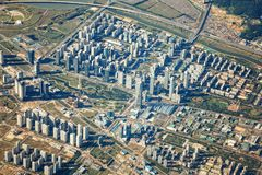 Songdo International Business District from the sky. Horizontal royalty free stock photos