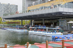 SongDo, KOREA - July 29, 2014: Water play in Songdo Internationa. Water play services of Songdo Central Park in Songdo International Business District royalty free stock photos