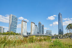 Songdo, Korea - September 07, 2015: Songdo IBD Royalty-vrije Stock Afbeeldingen
