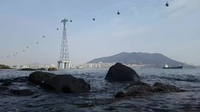 Songdo Marine Cable Car an AmNam-Park stock footage