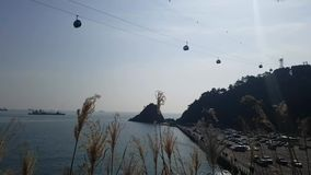 Songdo Marine Cable Car at AmNam Park. When Jan-21-2018 stock video