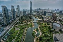SONGDO SENTRAL park, INCHEON KOREA, PAŹDZIERNIK, - 15, 2016 Obraz Royalty Free