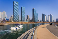 Songdo,South Korea - February 19, 2015: Songdo Central Park in S. Ongdo International Business District, Incheon South Korea royalty free stock photos