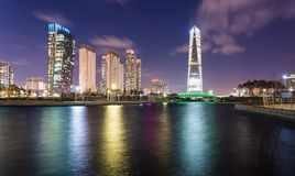 Songdo,South Korea - March 09, 2015: Songdo Central Park in Song. Do International Business District, Incheon South Korea royalty free stock photos