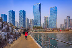 Songdo,South Korea - March 08, 2015: Songdo Central Park in Song. Do International Business District, Incheon South Korea royalty free stock photo