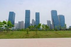 Songdocentral park in van Bedrijfs songdo Internationaal District Incheon, Korea stock afbeelding