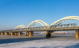 The songhua river bridge in harbin stock images