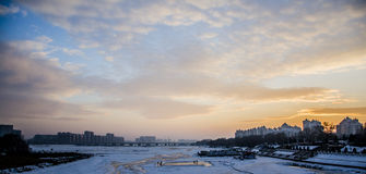 The Songhua River of China. In winter, the Songhua River at sunset Royalty Free Stock Photos