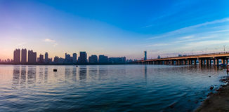 Songhua River in Harbin, Heilongjiang Province Bund. Eastphoto, tukuchina, Songhua River in Harbin, Heilongjiang Province Bund, Transportation, Bridge Stock Photography