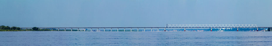 Songhua River in Jiamusi City, Heilongjiang Province, railway bridge Stock Photography