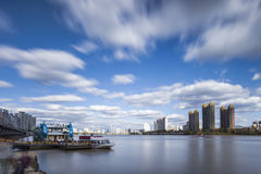 Songhua River in Jilin city building Royalty Free Stock Photo