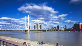 Songhua River in Jilin city building. Songhua River in Jilin city building, Transportation, Bridge Stock Photo