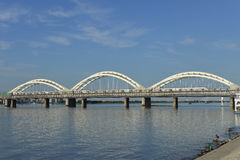 The Songhua river railway bridge. Is in Harbin, Heilongjiang, China Royalty Free Stock Photo