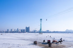 The songhua river. The snow covered the  river in winter in haerbing,China Royalty Free Stock Photo
